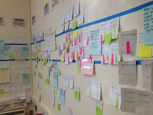 Lots of cards and coloured post-it notes stuck onto a wall between lines of masking tape.