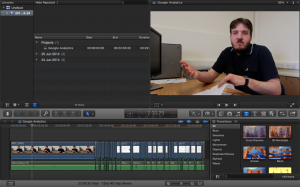 A screenshot of one frame of our video in the Final Cut Pro X editing software.
