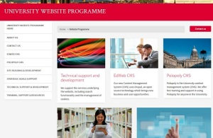 Homepage of the University Website Programme website with some images of Old College and students at a laptop and in the library
