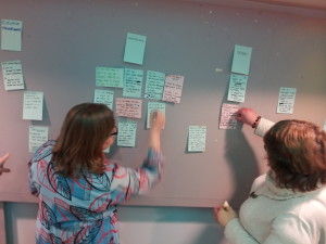 Workshop participants working with post it notes