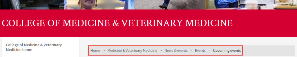 Screenshot of College of Medicine and Veterinary Medicine banner and navigation panel.