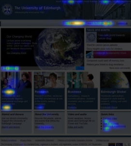 Screengrab of a click heatmap of the University homepage