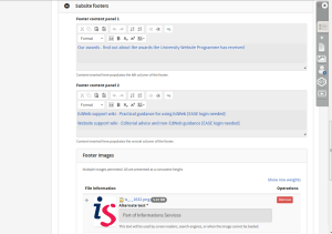 Customisable footers allow for multiple panels and images.
