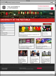 An example mockup for the University at the Festivals website.