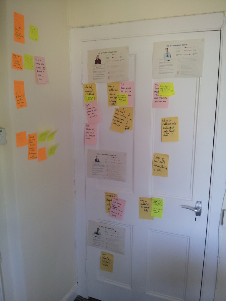 Personas and post-it notes pinned to a wall