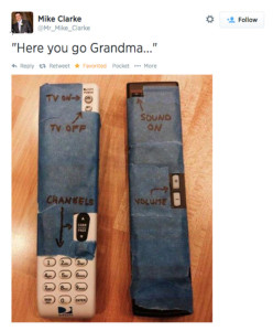 Remote controls covered with tape to hide unwanted features