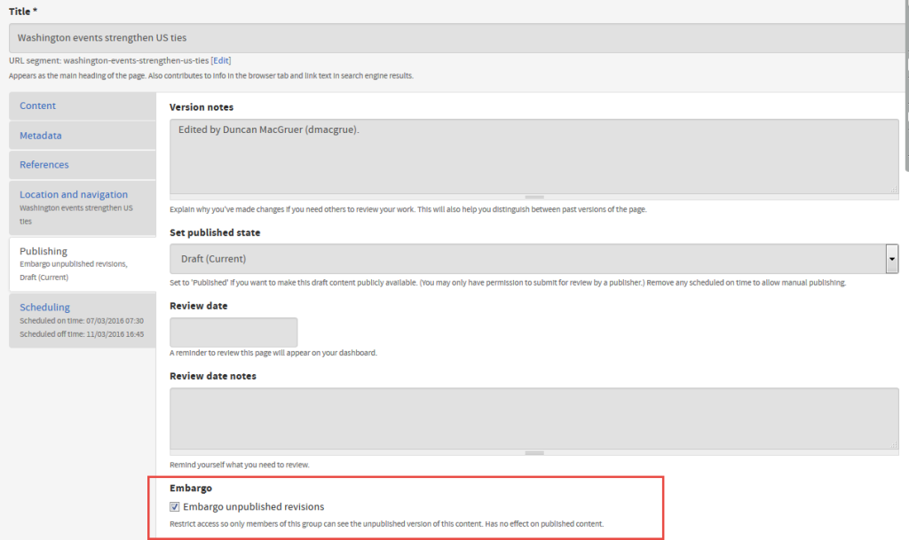 Screenshot showing the ability to embargo content in EdWeb