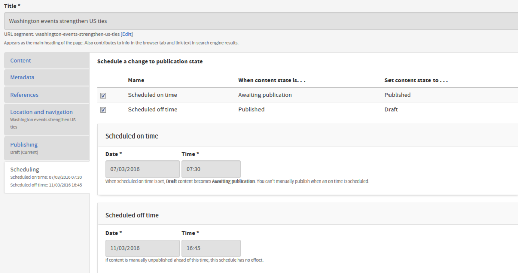 Screenshot of schedule publication tab, showing ability to publish/unpublish pages at specific times/dates.