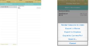 UX Recorder Initial screen and UX Recorder Export Options screen