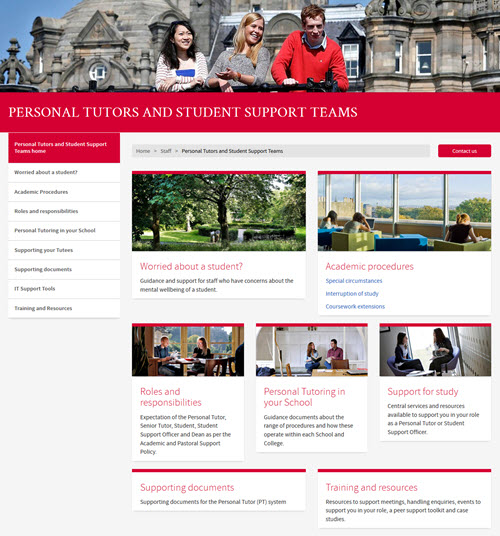 personal tutors website homepage screengrab