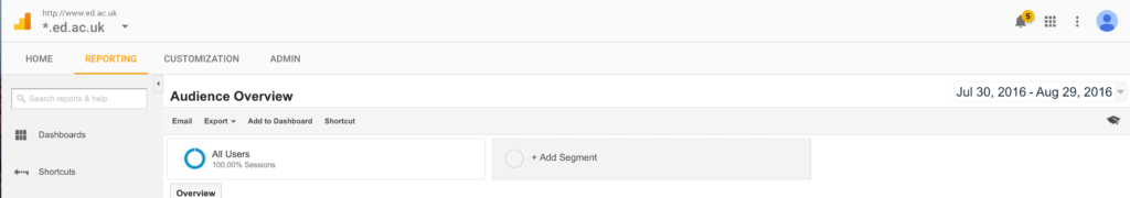 Screenshot of Google Analytics screenshot area