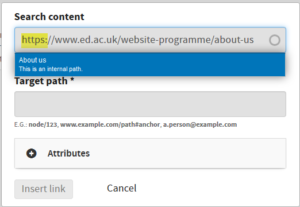 Pasting an internal link into search content