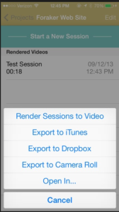 List of export options for UX Recorder videos