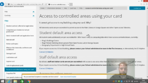 """User at """"Access to controlled areas using your card"""" page"""