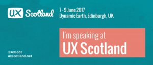 Promotional image for UX Scotland containing logo, dates and location