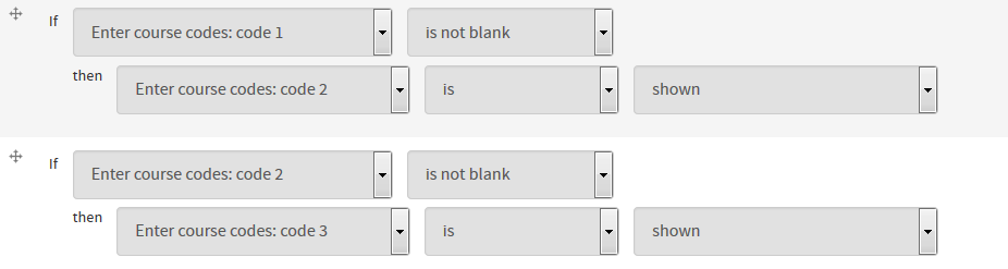 In the conditional, specify that if the component is not blank, then show the next textfield.