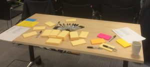 Table with post it notes and pens