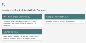 The standard dynamic overview in EdWeb