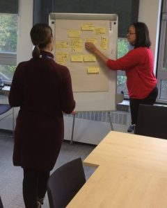 Two people organise post it notes on a flipchart