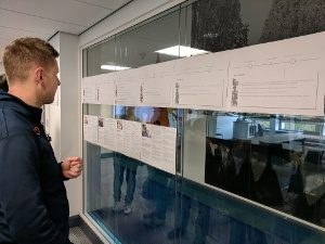 Attendees looking at the student journey maps