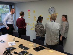 Workshop participants discussing barriers to undertaking UX work