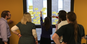 Group work at a wall with post it notes