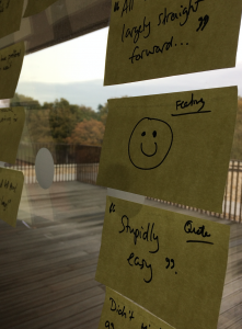 Close up of post it notes