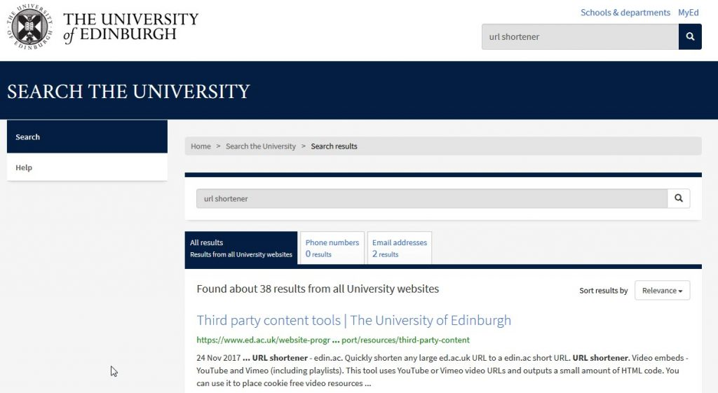 "Screenshot showing University web search for the term ""URL Shortener"""