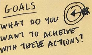 "Sticky note: ""Goals - what do you want to achieve with these actions?"""
