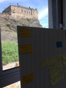 View of Edinburgh Castle through window