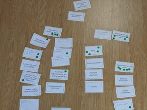 Cards containing user needs and business objectives