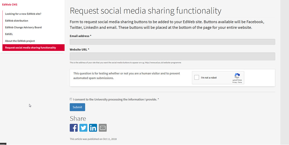 Screenshot of Social Media Share Functionality request form