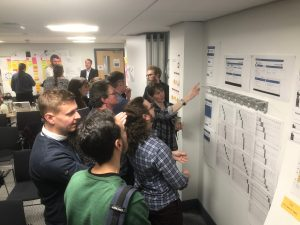 Group discuss diagrams on the wall